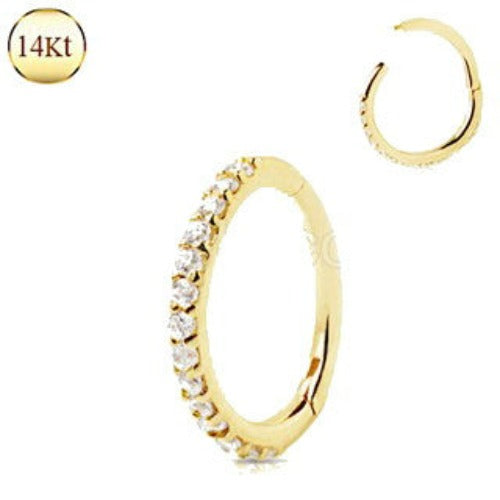 14Kt. Yellow Gold Multi Jeweled Seamless Clicker Ring - Fashion Hut Jewelry