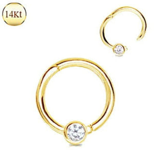 14Kt. Yellow Gold Jeweled Seamless Clicker Ring - Fashion Hut Jewelry