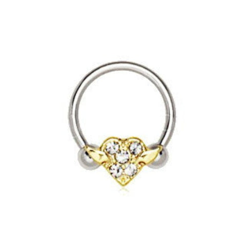 316L Stainless Steel Gold Plated Heart Snap-In Captive Bead Ring / Septum Ring - Fashion Hut Jewelry