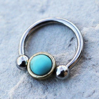 316L Stainless Steel Turquoise Snap-In Captive Bead Ring / Septum Ring - Fashion Hut Jewelry