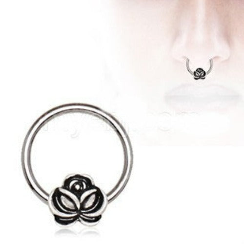 316L Stainless Steel Captive Bead Ring with Antique Gold Plated Flower - Fashion Hut Jewelry