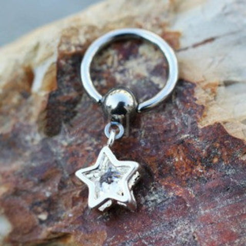 316L Stainless Steel Captive CZ Star Dangle Captive Bead Ring - Fashion Hut Jewelry