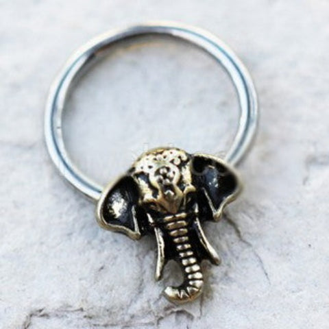 316L Stainless Steel Antique Bronze Plated Elephant Snap-in Captive Bead Ring - Fashion Hut Jewelry