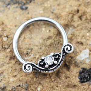 316L Stainless Steel Ornate Design Snap-in Captive Bead Ring / Septum Ring - Fashion Hut Jewelry