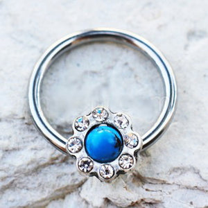 316L Stainless Steel Turquoise Flower Snap-in Captive Bead Ring - Fashion Hut Jewelry