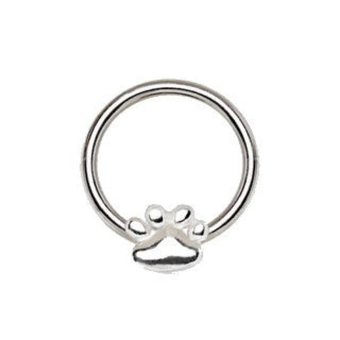 316L Stainless Steel Dog Puppy Paw Snap-in Captive Bead Ring / Septum Ring - Fashion Hut Jewelry