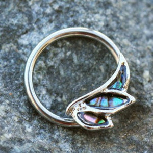 316L Stainless Steel Abalone Shell Angel Wing Snap-in Captive Bead Ring / Septum Ring - Fashion Hut Jewelry