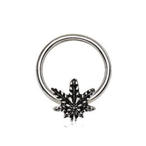 316L Stainless Steel Pot Leaf Snap-in Captive Bead Ring / Septum Ring - Fashion Hut Jewelry