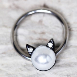 316L Stainless Steel Pearl Cat Snap-in Captive Bead Ring / Septum Ring
