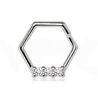 316L Stainless Steel Multi Jeweled Hexagon Captive Bead Ring / Cartilage Earring - Fashion Hut Jewelry