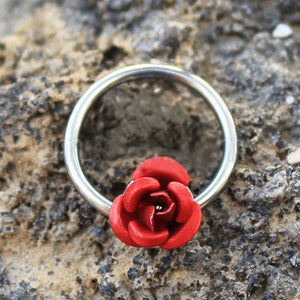 316L Stainless Steel Red Rose Snap-in Captive Bead Ring / Septum Ring - Fashion Hut Jewelry