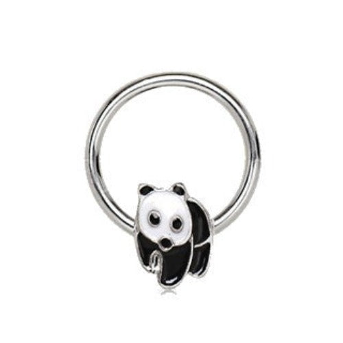 316L Stainless Panda Snap-in Captive Bead Ring / Septum Ring - Fashion Hut Jewelry