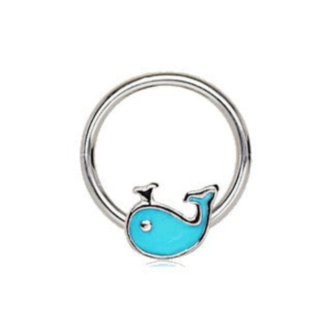316L Stainless Blue Whale Snap-in Captive Bead Ring / Septum Ring - Fashion Hut Jewelry