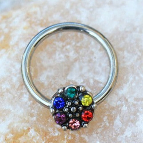 Rainbow Flower Snap-in Captive Bead Ring / Septum Ring