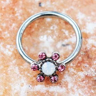 316L Stainless Steel Jeweled Flower Snap-in Captive Bead Ring / Septum Ring - Fashion Hut Jewelry