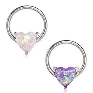 Synthetic Opal Heart Snap-in Captive Bead Ring / Septum Ring