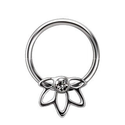 316L Stainless Steel Flower Snap-in Captive Bead Ring - Fashion Hut Jewelry