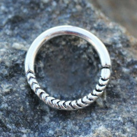 316L Stainless Steel Rope Design Annealed Seamless Ring / Septum Ring - Fashion Hut Jewelry
