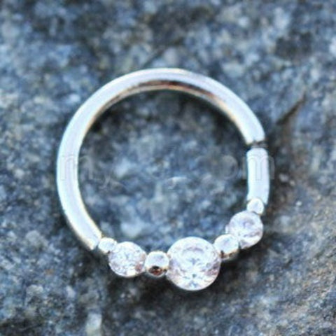 316L Stainless Steel Clear CZ Trio Annealed Seamless Ring / Septum Ring