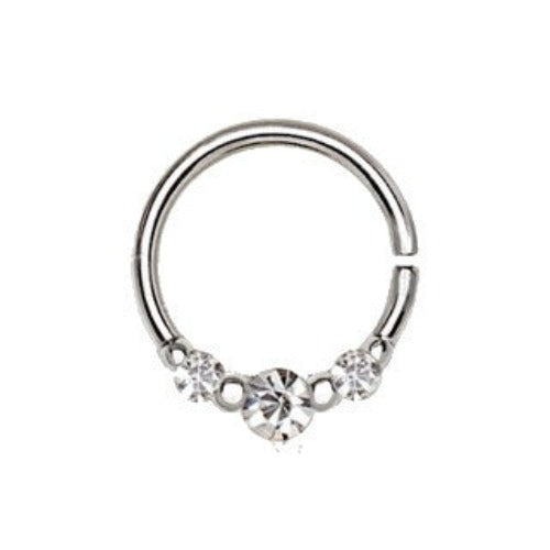 316L Stainless Steel Clear CZ Trio Annealed Seamless Ring / Septum Ring - Fashion Hut Jewelry