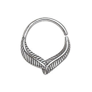 316L Stainless Steel Leaf Seamless Ring / Septum Ring - Fashion Hut Jewelry