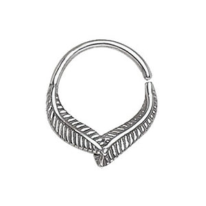 316L Stainless Steel Leaf Seamless Ring / Septum Ring