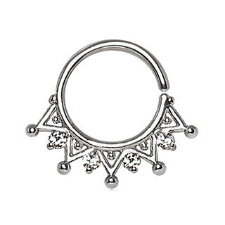 316L Stainless Steel Royal Ornate Seamless Ring / Septum Ring - Fashion Hut Jewelry