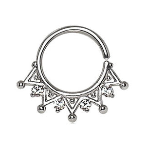 316L Stainless Steel Royal Ornate Seamless Ring / Septum Ring