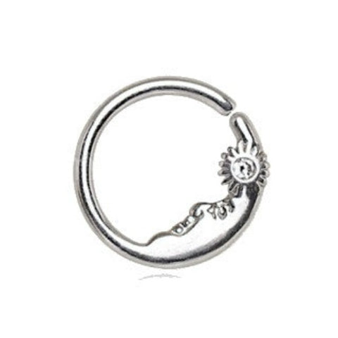 316L Stainless Steel Sun & Moon Seamless Rings / Cartilage Earrings - Fashion Hut Jewelry