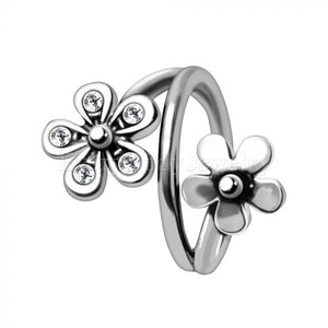 Twist Style Flower Seamless Ring / Cartilage Earring - Fashion Hut Jewelry