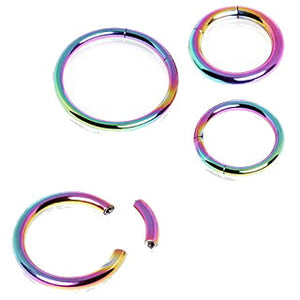 Rainbow PVD Plated Circular Segment Ring - Fashion Hut Jewelry