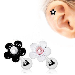 Cartilage Earring With Pearled Daisy - Fashion Hut Jewelry