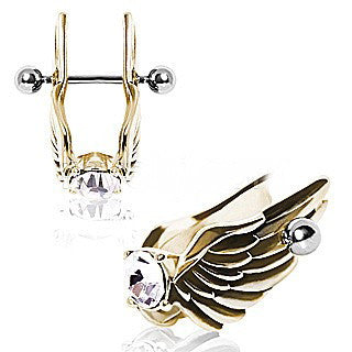 Gold-Plated Feathered Angel Wings with Gem Cartilage Earring - Fashion Hut Jewelry