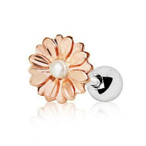 Rose Gold Sweat Pearl Daisy Cartilage Earring