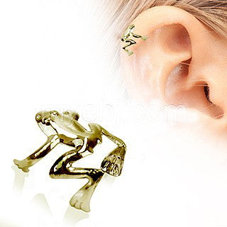 Antique Gold Tree Frog Fake Cartilage Ear Cuff - Fashion Hut Jewelry