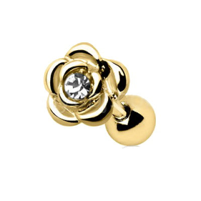 Gold Diamond Rose Cartilage Earring Cartilage Piercing Jewelry - Fashion Hut Jewelry