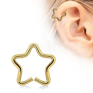 Gold Star Shaped Cartilage Earring - Fashion Hut Jewelry