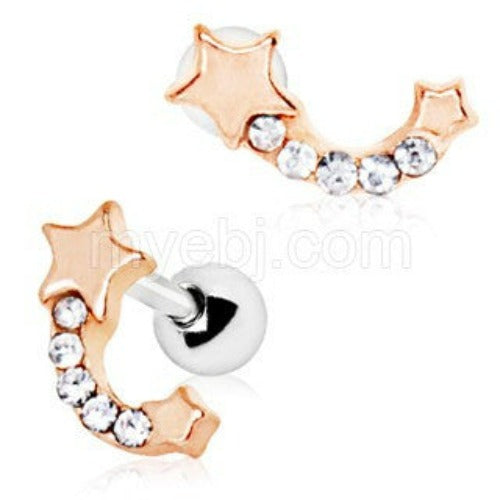 Rose Gold Plated Jeweled Shooting Star Cartilage Earring - Fashion Hut Jewelry