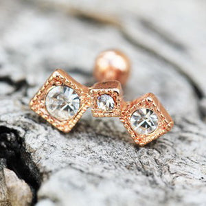 Rose Gold Art of Brilliance Triple Square Drop Cartilage Earring - Fashion Hut Jewelry
