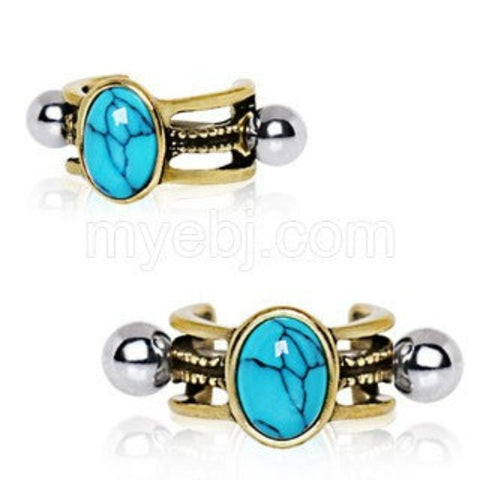 Antique Gold Cartilage Ear Cuff with Oval Turquoise Stone - Fashion Hut Jewelry
