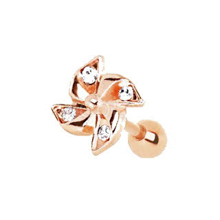 Rose Gold Adorned Pinwheel Cartilage Earring - Fashion Hut Jewelry