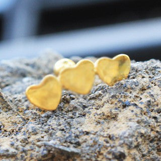 Gold Plated Triple Heart Cartilage Earring - Fashion Hut Jewelry