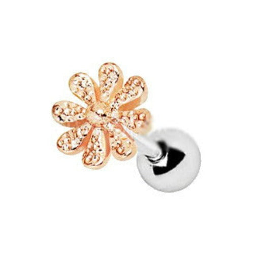 Rose Gold Plated Daisy Flower Cartilage Earring - Fashion Hut Jewelry