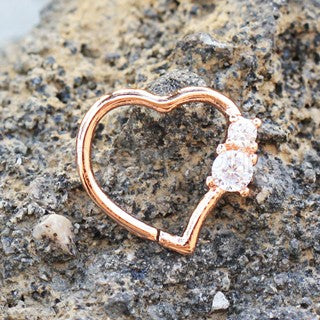 Annealed Rose Gold Jeweled Heart Cartilage Earring - Fashion Hut Jewelry
