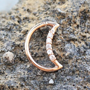 Annealed Rose Gold Jeweled Crescent Moon Cartilage Earring - Fashion Hut Jewelry