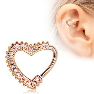 Rose Gold Annealed Ornamental Heart Cartilage Earring - Fashion Hut Jewelry