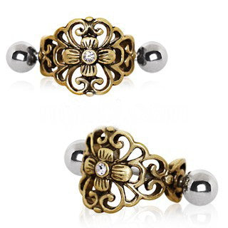 Antique Gold Gemmed Floral Cartilage Ear Cuff - Fashion Hut Jewelry