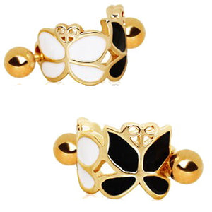 Gold Plated Black and White Butterfly Cartilage Ear Cuff - Fashion Hut Jewelry