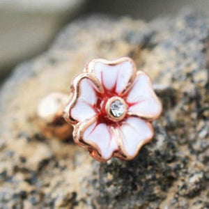 Rose Gold Hawaiian Hibiscus Flower Cartilage Earring - Fashion Hut Jewelry