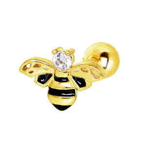 Yellow Gold Jeweled Bumblebee Cartilage Earring - Fashion Hut Jewelry